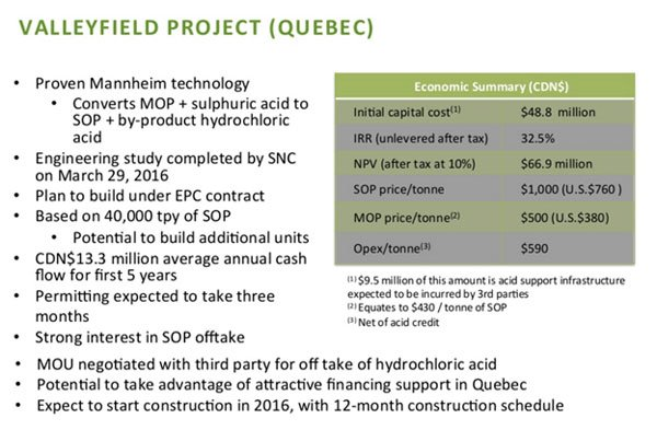 Valleyfield Project Quebec