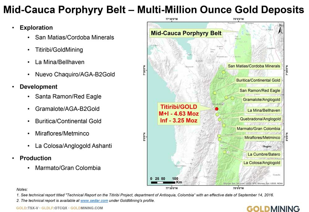 Mid-Cauca Porphyry Belt - Multi-Million Ounce Gold Deposits